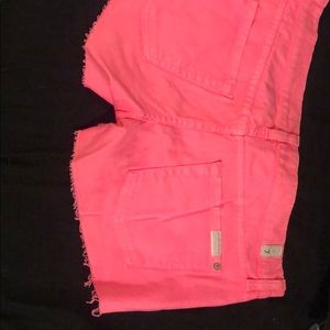 Hot Pink 7 for all mankind booty short shorts